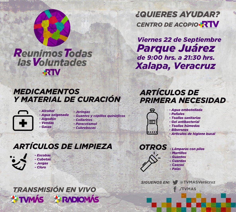 Si estás en Veracruz te invitamos a participar en la colecta de @RTVVeracruz #CentroDeAcopio #FuerzaMéxico https://t.co/8EKMjYQ0Hx