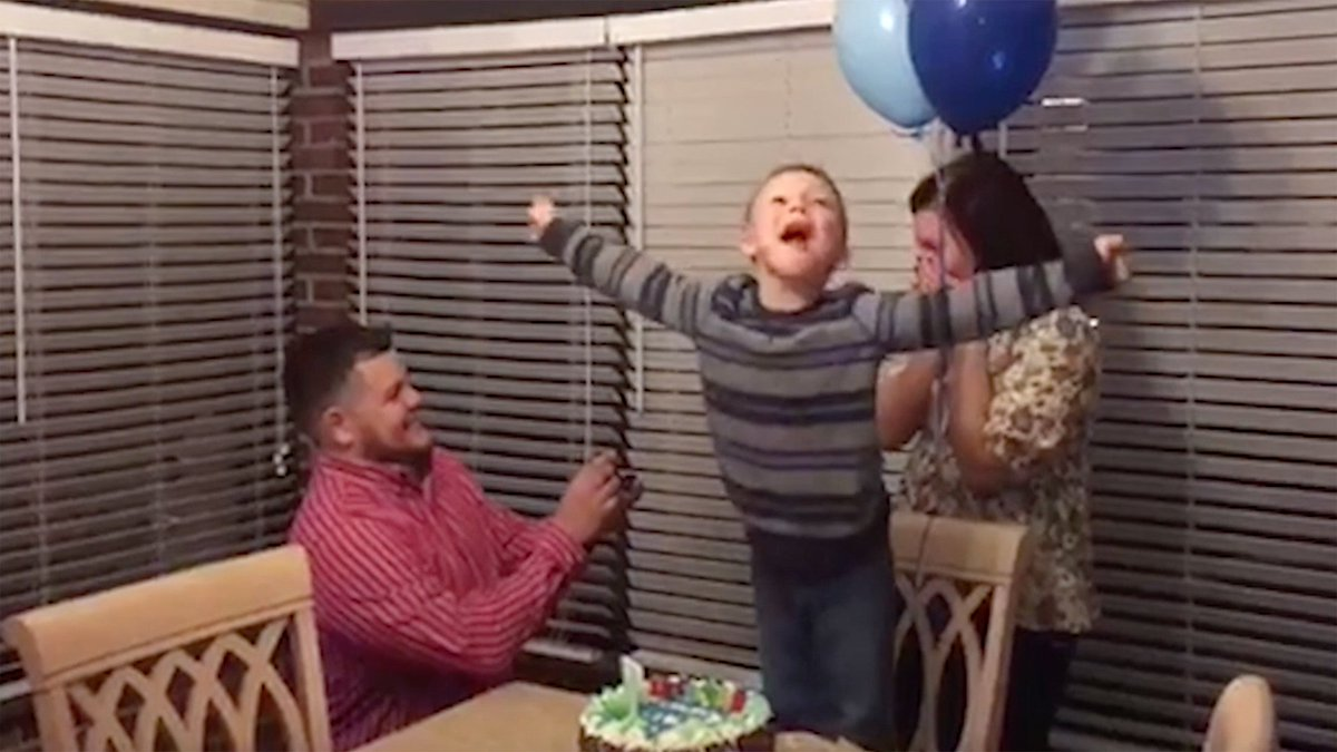See this boy's birthday wish come true when his parents get engaged!