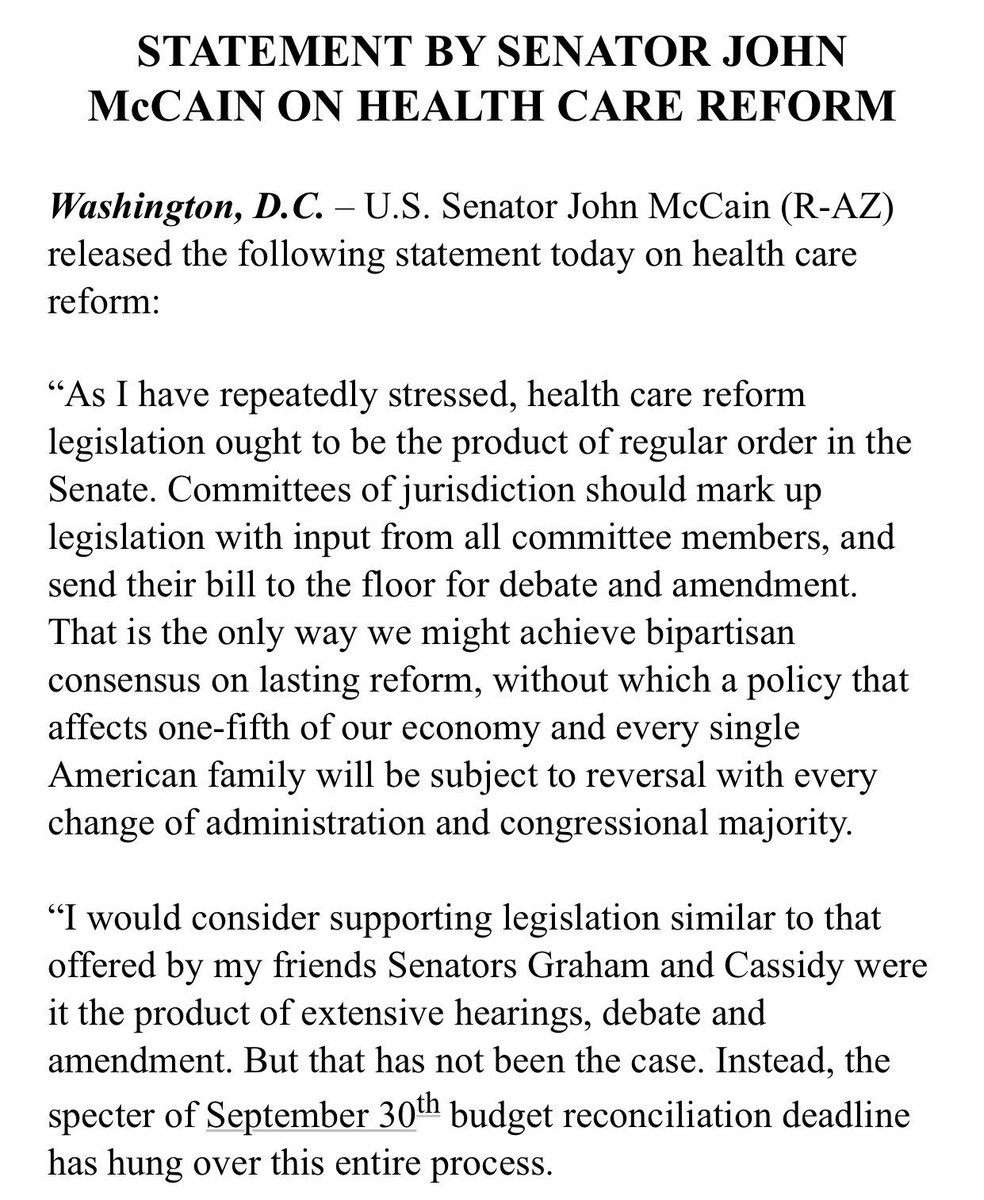 Sen. McCain's full statement announcing his opposition to the Graham-Cassidy health care bill.