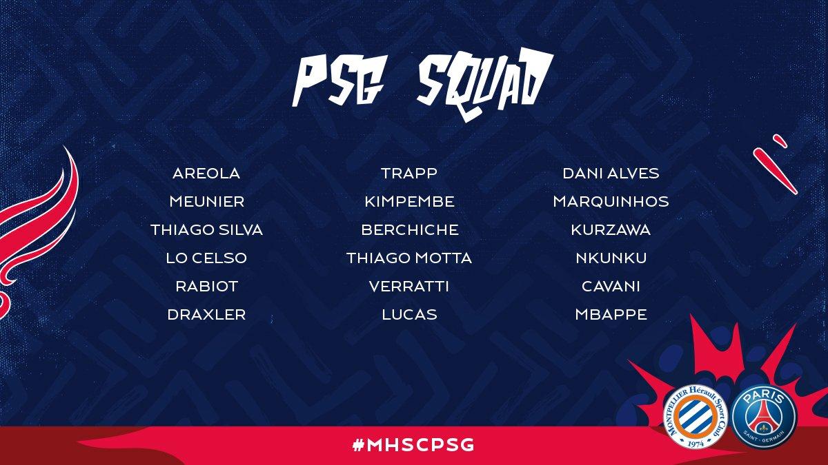 PSG squad for tomorrow's match at ! 👊 ⚽️ #MHSCPSG 🔴🔵...