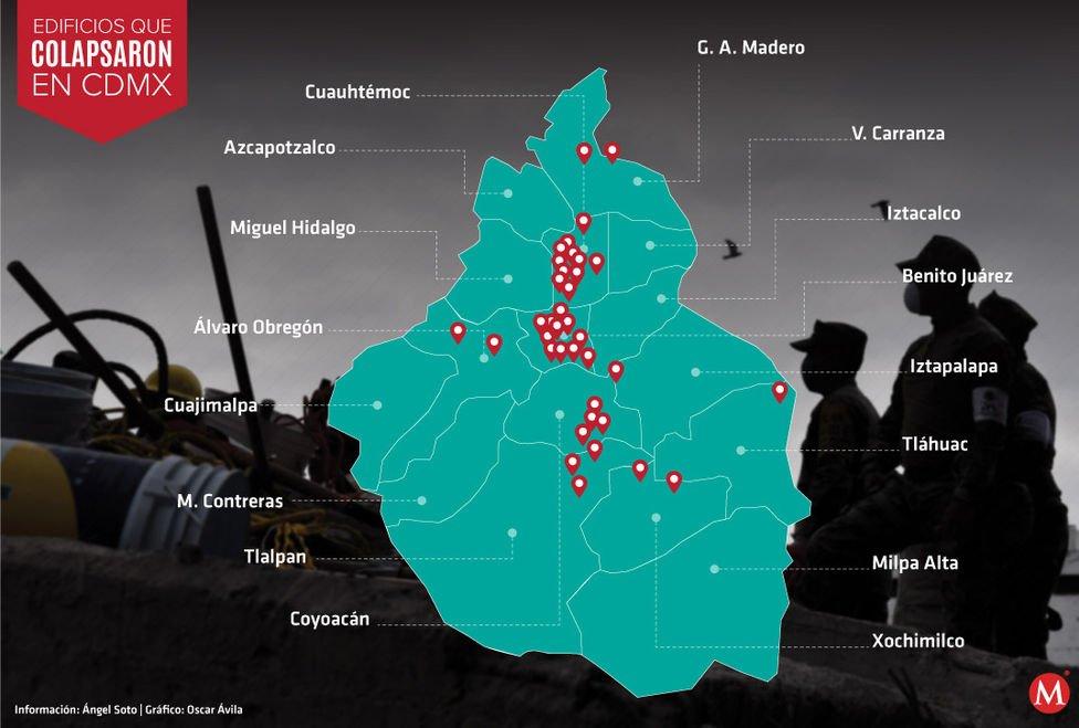 Edificios que colapsaron en la #CdMx https://t.co/8CMEJKfI7D #Sismo #FuerzaMéxico https://t.co/wkzCHpBauO