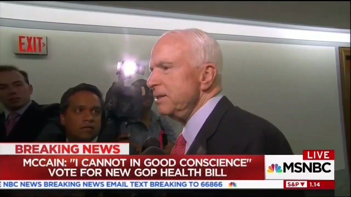 How cable news reacted to @SenJohnMcCain opposing the #GrahamCassidyBill