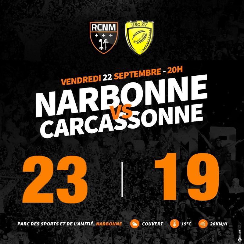 La fin de la rencontre est sifflée. Le #RCNM gagne ce derby de l'Aude ! 💪🏼...
