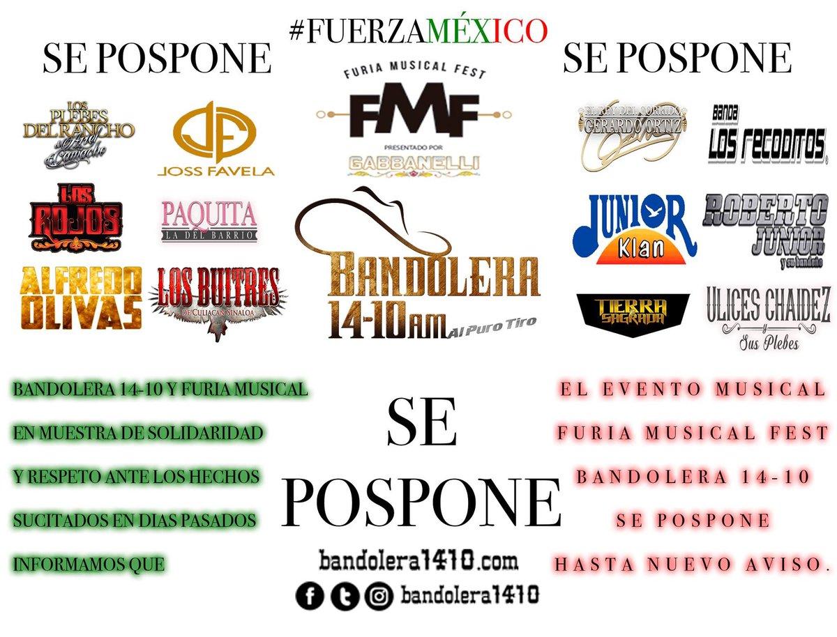 test Twitter Media - SE POSPONE HASTA NUEVO AVISO el @furiaoficial Fest @bandolera1410  Agradecemos su comprensión. México: canta y no llores. #FUERZAMÉXICO https://t.co/e2yI1Kvqq4