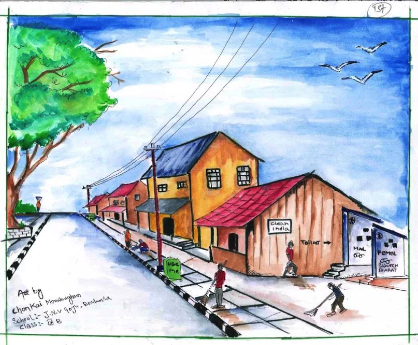 Beautiful painting by Chonkai Monwangham from Changlang, Arunachal Pradesh on a @swachhbharat by 2019.