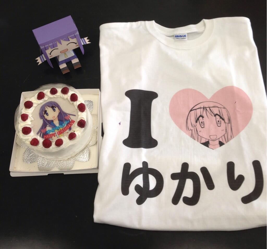 誕生日ケーキとI♡縁Tシャツでお祝い!! 宣伝ナリタ #ゆゆ式 #日向縁聖誕祭