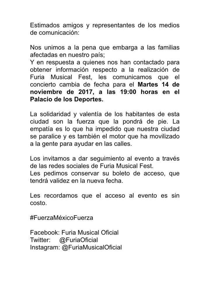 test Twitter Media - ATENCIÓN!!! #FuriaMusicalFest cambia de fecha!!! El evento se realizará el 14 de noviembre. Sus boletos siguen siendo vigentes... https://t.co/Y0HW93AJly