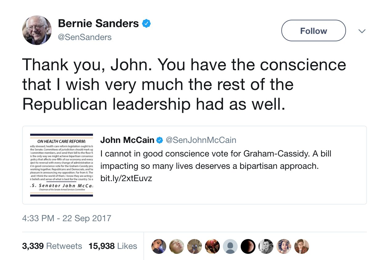 Sanders to McCain: I wish other Republicans had your conscience https://t.co/D9YVYE4lEa https://t.co/S01qGZoxYe