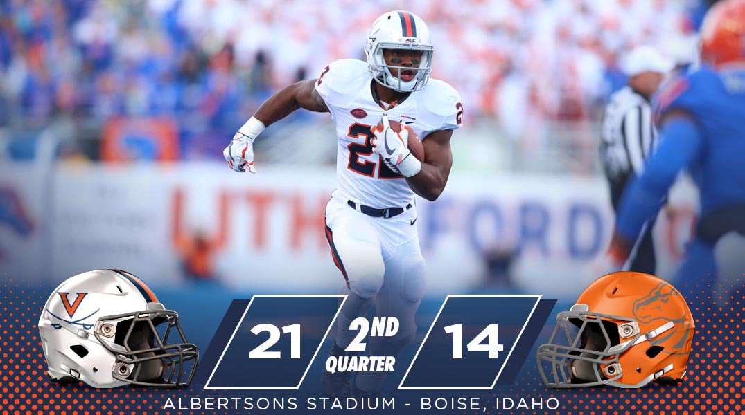 We enter the intermission here in Boise. UVA leads Boise State, 21-14....