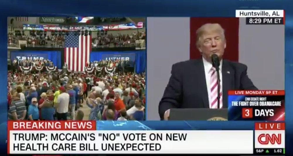 "WATCH Trump says ""fake news"" won't show rally crowd as CNN shows rally crowd"