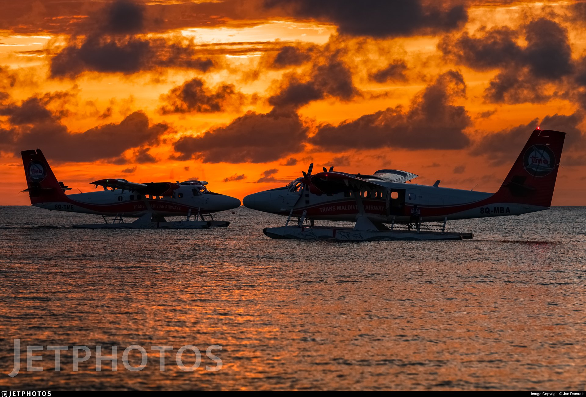 Two Trans Maldivian Airways Twin Otters enjoying a sunset in the Maldives. https://t.co/VRuuvDBewo © Jan Damrath https://t.co/7HGcxbmo5q