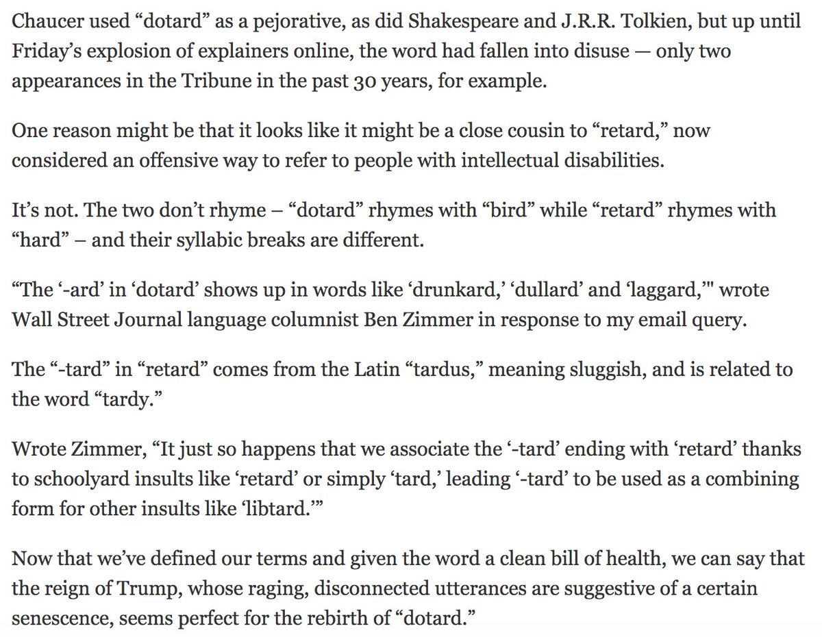 """test Twitter Media - I talked to @chicagotribune columnist @EricZorn about """"dotard"""" and its (coincidental) resemblance to """"retard"""" https://t.co/liGbgEoRTj https://t.co/am0IsIR6Ja"""