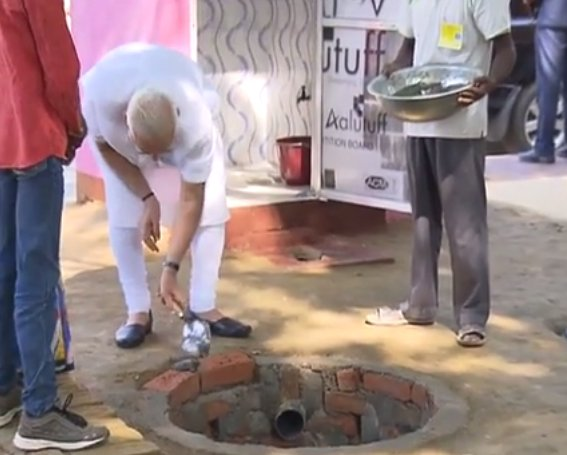 PM Shri lays foundation for toilet under Swachh Bharat A...