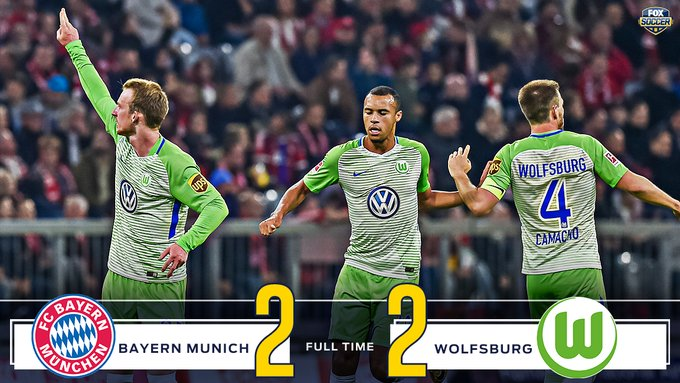 Wolfsburg come back from a 2-goal deficit at half to get a point on the road against Bayern Munich. #Bundesliga https://t.co/b8zeCfBx7f