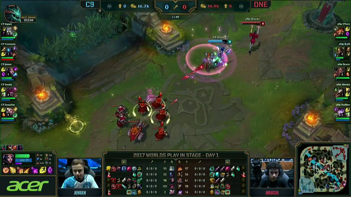First Blood for @C9Jensen, and @C9Impact makes it out alive afterwards! #Worlds2017