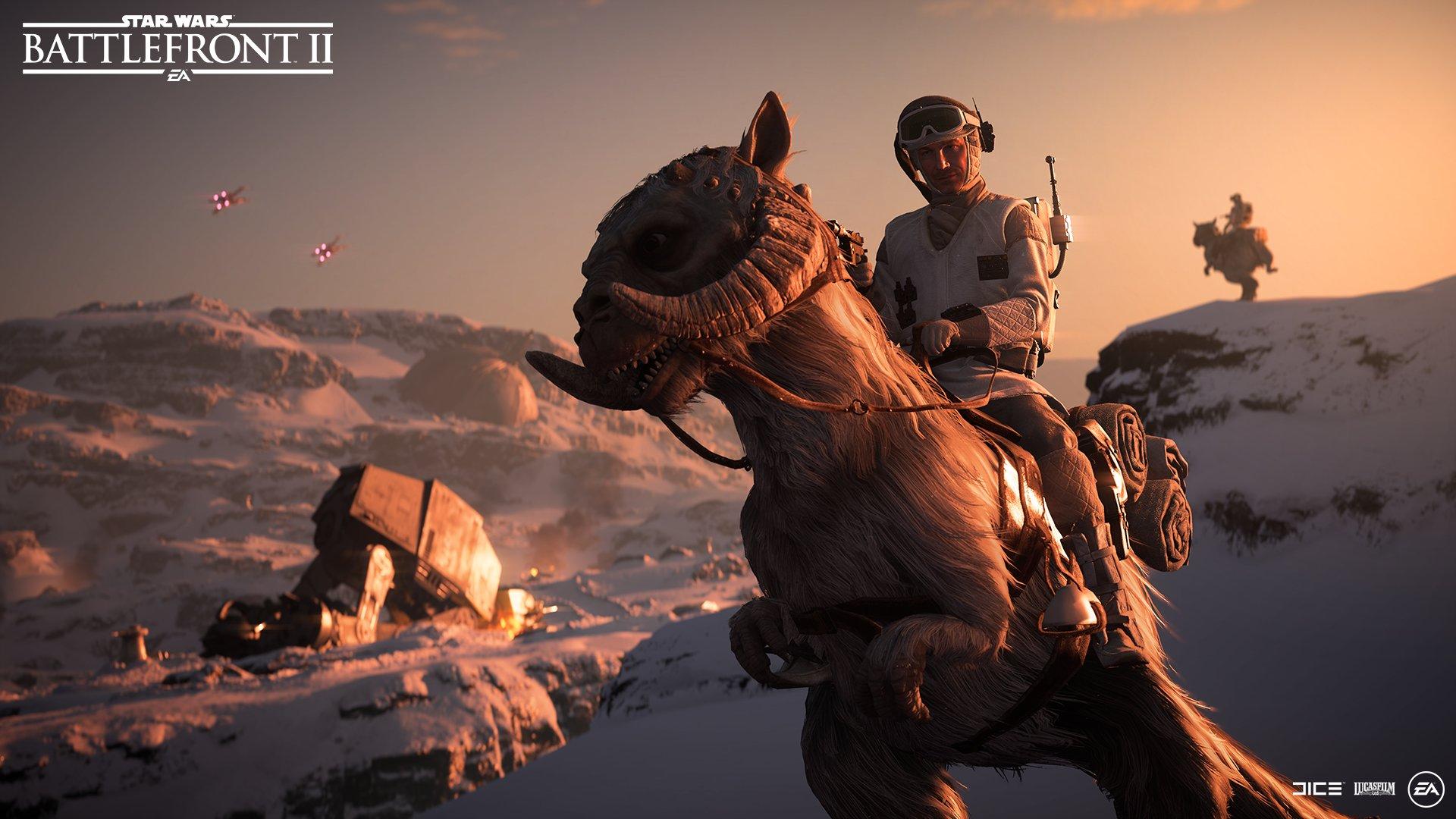 RT si vous êtes prêt  à chevaucher un Tauntaun sur les champs de batailles glacés de Hoth. #StarWarsBattlefrontII https://t.co/frV7uiQPMk