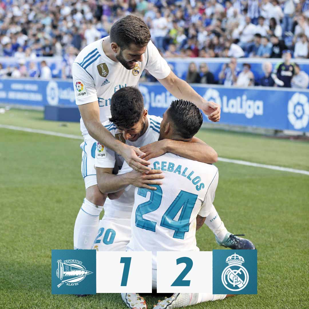 ��  Final:  @Alaves 1-2 #RealMadrid (Manu 40'; @DaniCeballos46 10', 43').  #RMLiga https://t.co/IM6WL9bqeN