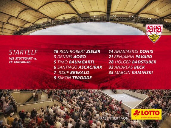 The #VfB lineup for our home tie vs. Kickoff in one hou...