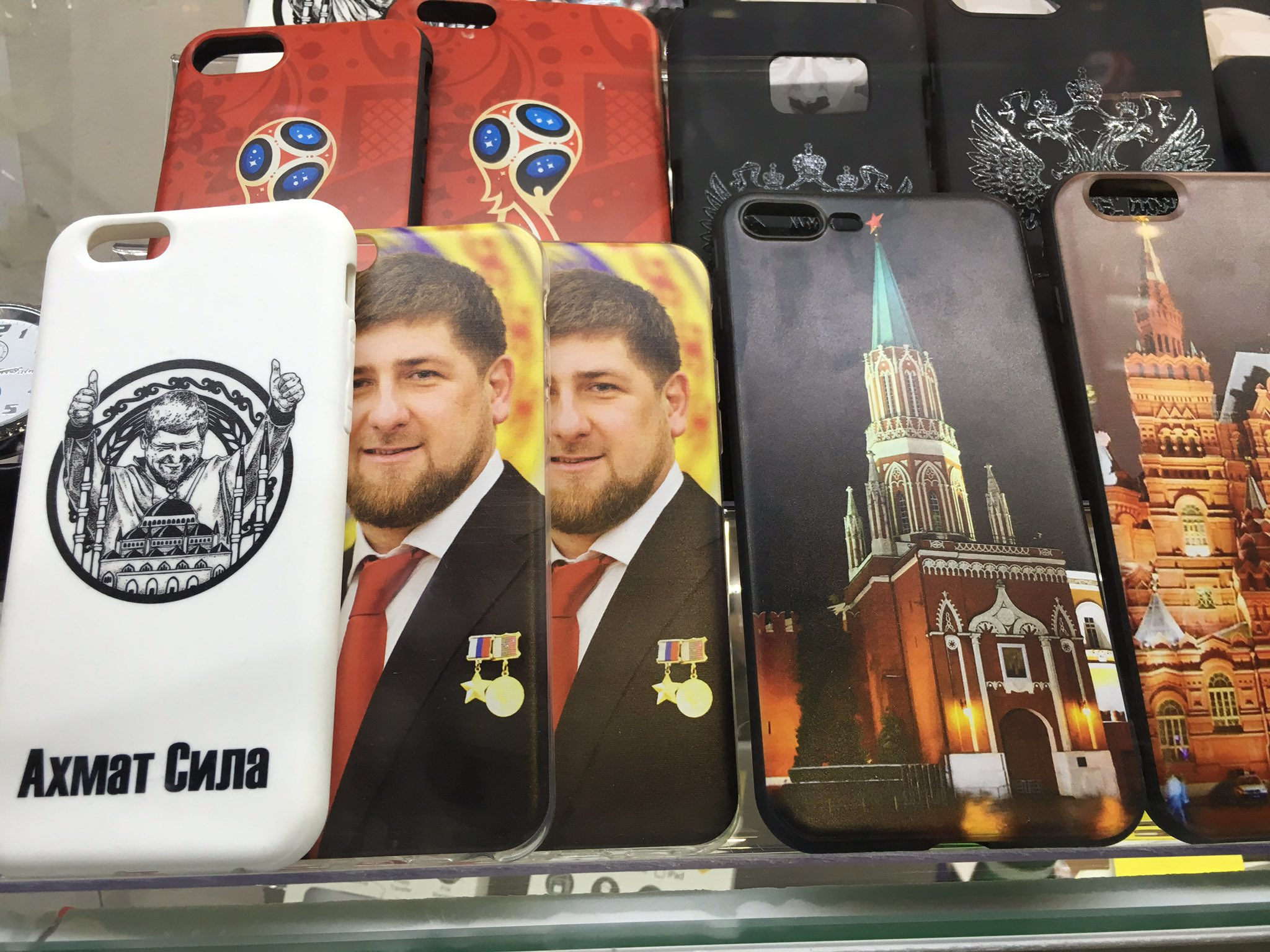 On sale near the Kremlin, smart phone covers featuring Chechen leader Ramzan Kadyrov. https://t.co/DrbP5CZh3g