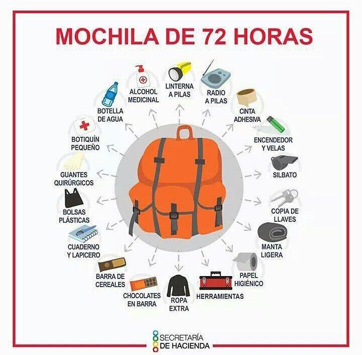 Otra recomendación fundamental es tener lista una #MochilaDeEmergencia  o #Mochiladevida ¿Ya la tienen? https://t.co/A5cf4Demrt