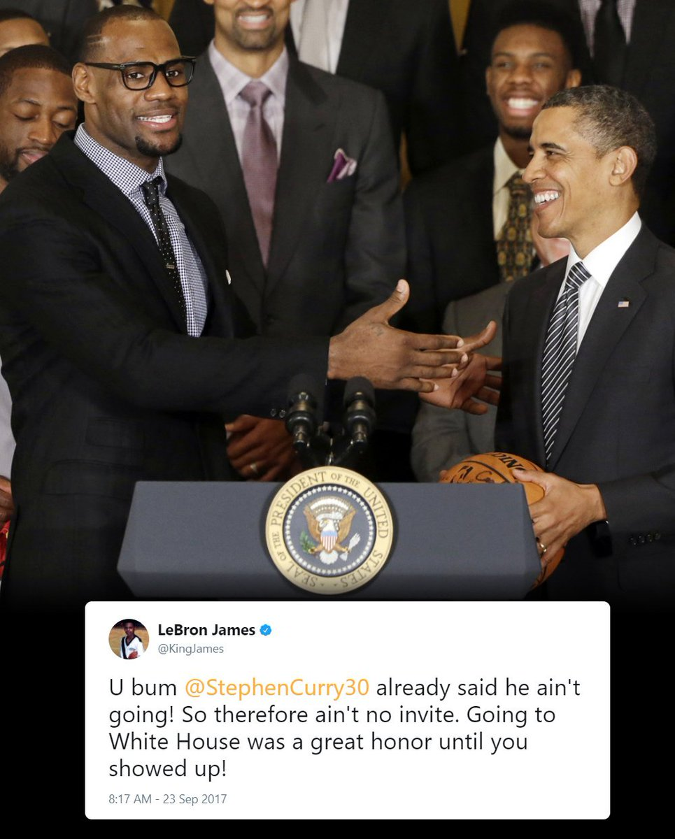 LeBron James' response to Donald Trump uninviting Steph Curry to the W...