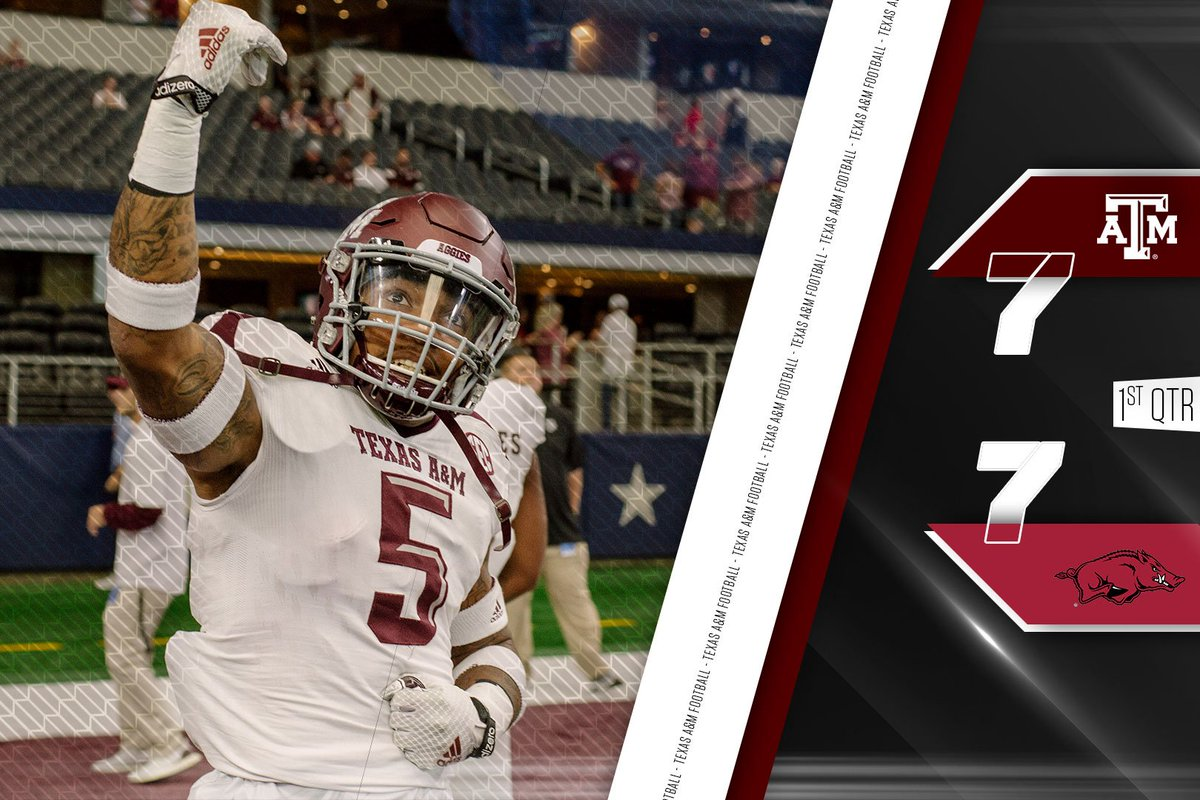 Texas A&M and Arkansas tied at 7 after the 1st quarter #12thMan #T...