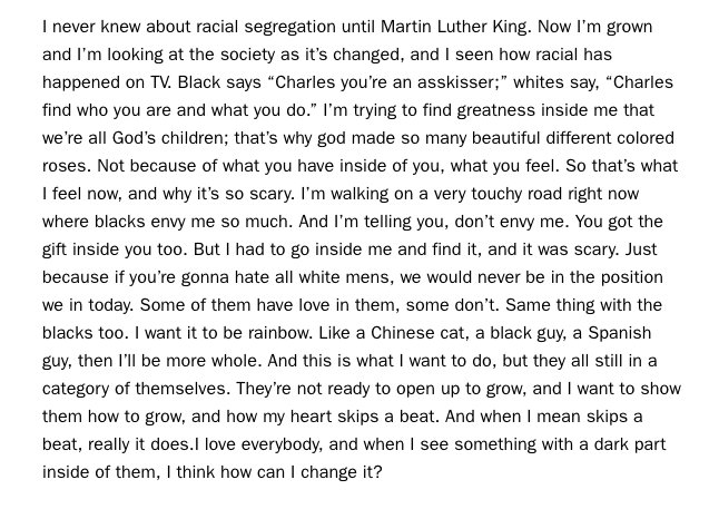 Charles Bradley on humanity, from an interview in 2014. Rest in peace,...