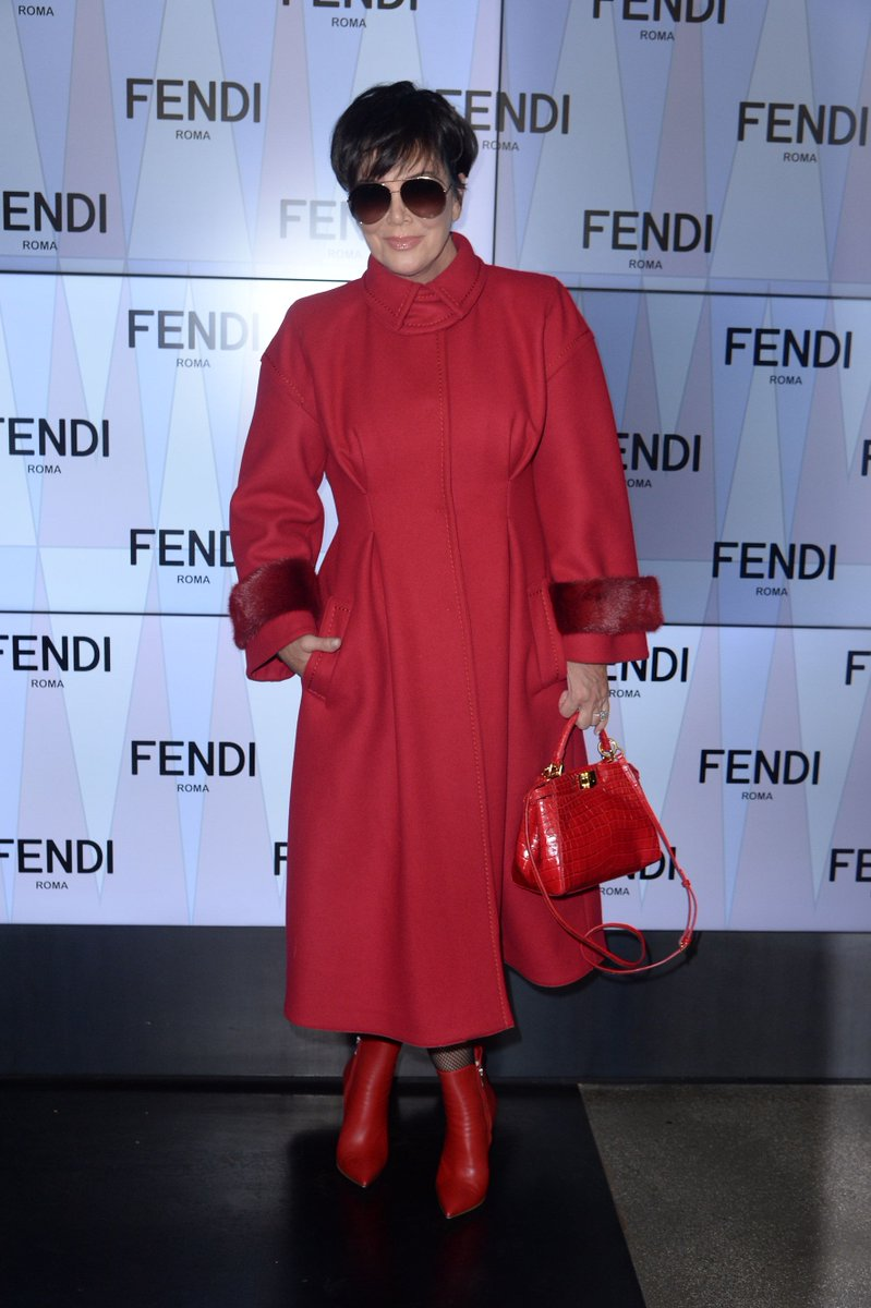 Lady in red, @KrisJenner arrives for the #FendiSS18 show in a full #FendiFW17 look #MFW https://t.co/xDWVw5s7TI