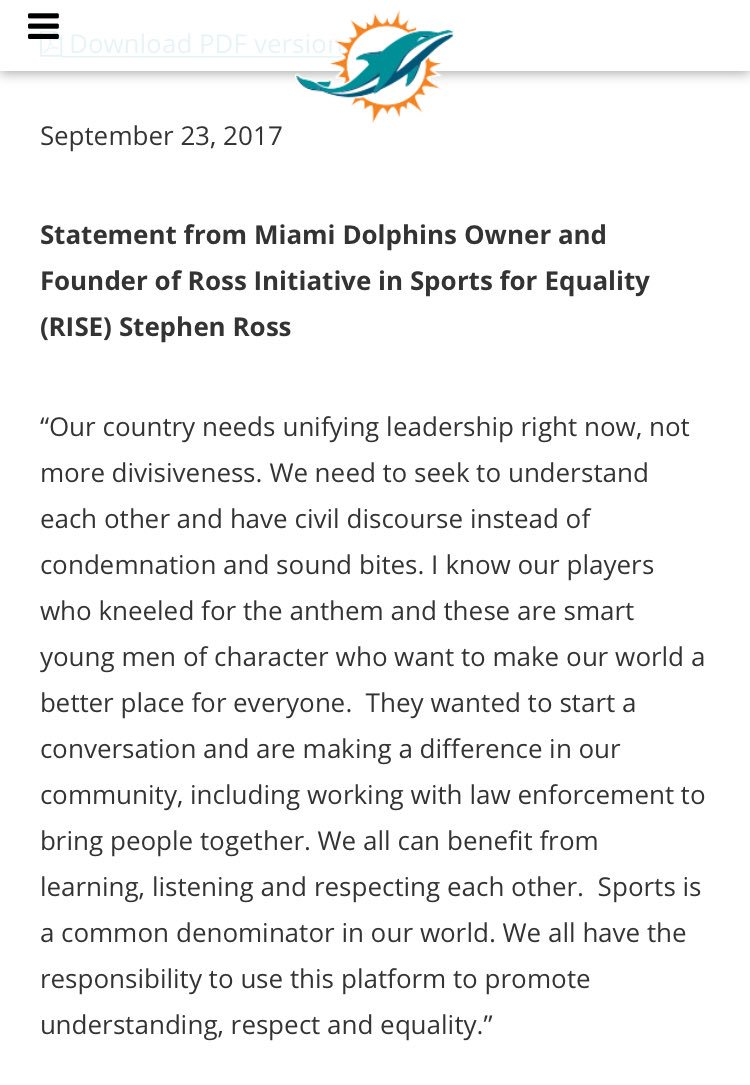From @MiamiDolphins owner Stephen Ross https://t.co/x6UOY41m5K