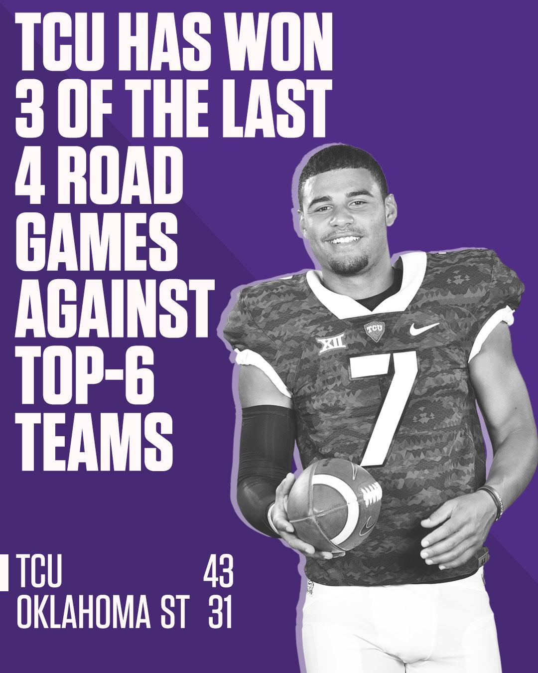 Down goes No. 6 Oklahoma State!  TCU walks out of Stillwater with a huge win. https://t.co/whEEWVdB6v