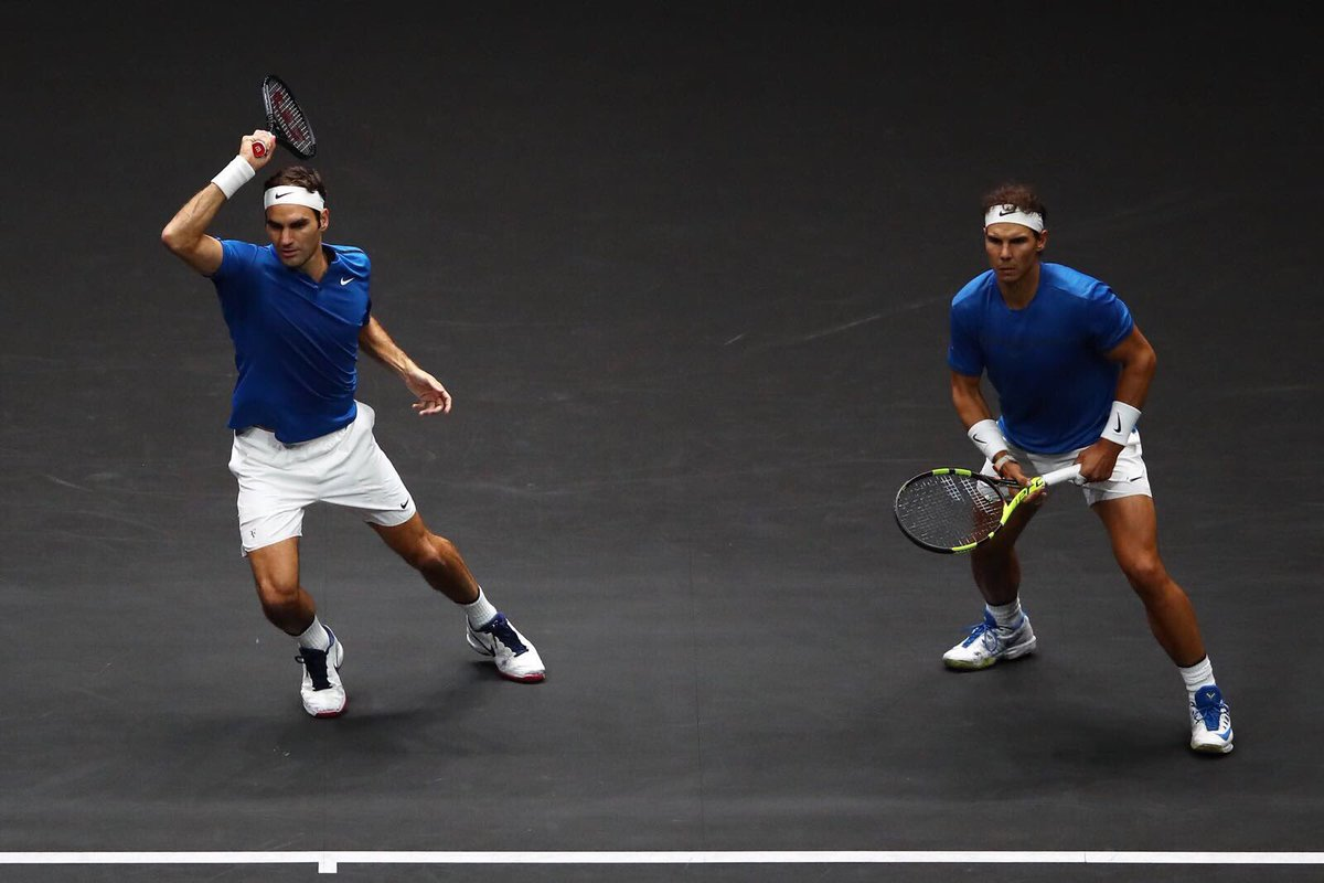 test Twitter Media - RT @rogerfederer: I could get used to playing on the same side of the net as @RafaelNadal 💪🏻👊🏻👯♂️🕺🏽🎯🔥 https://t.co/BxNvbFdDrn