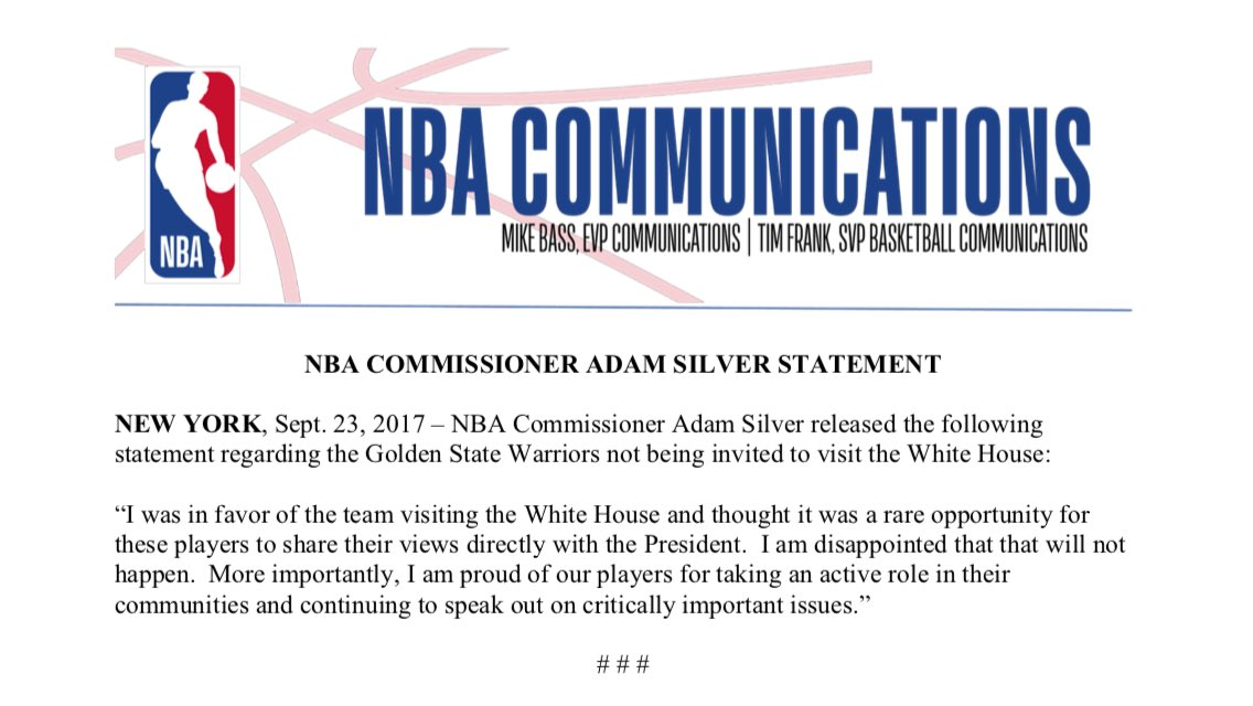Statement from @NBA Commissioner Adam Silver regarding the @warriors not being invited to visit the White House.