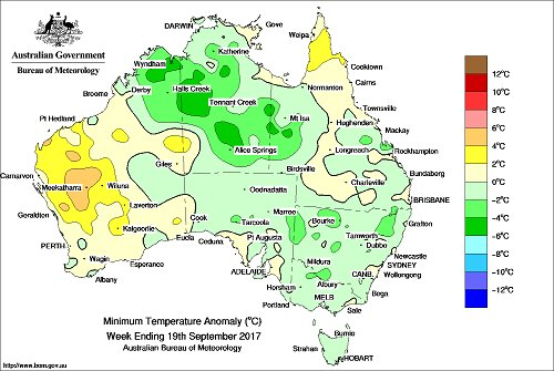 Min temps below avg in north Aus & parts of...