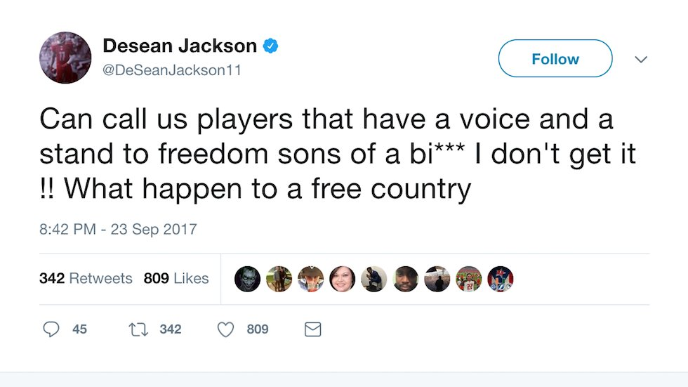 NFL star rips 'clown' Trump: What happened to a free country? https://t.co/683XjTUF8L https://t.co/CNCgg8HgCf