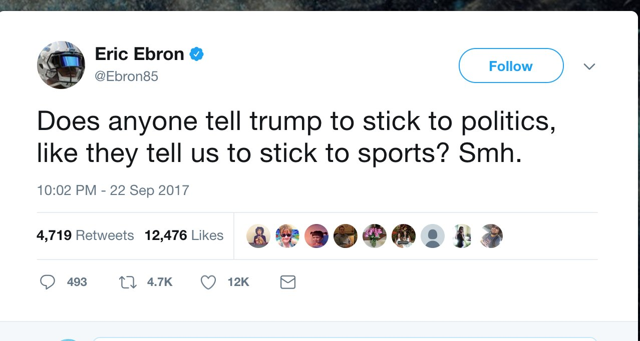 NFL player to Trump: Does anyone tell you to stick to politics? https://t.co/VFMoCYWfqt https://t.co/jUvIidd9ki