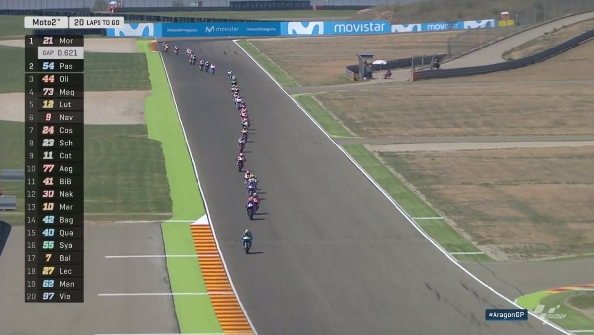 test Twitter Media - All aboard the #Moto2 🚂!  @FrankyMorbido12 had a SCORCHER of a start & is out front! He's out to make amends for his Misano crash #AragonGP https://t.co/QmyYS6yWKX
