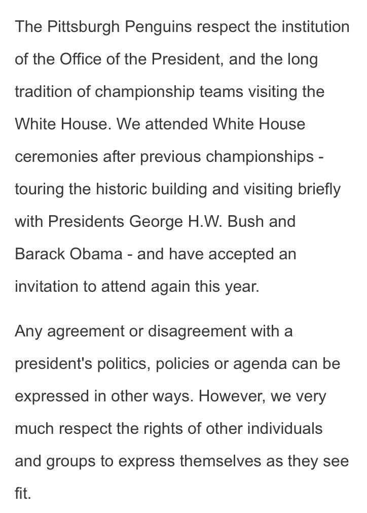 JUST IN Stanley Cup champion Pittsburgh Penguins release Team statement regarding White House visit