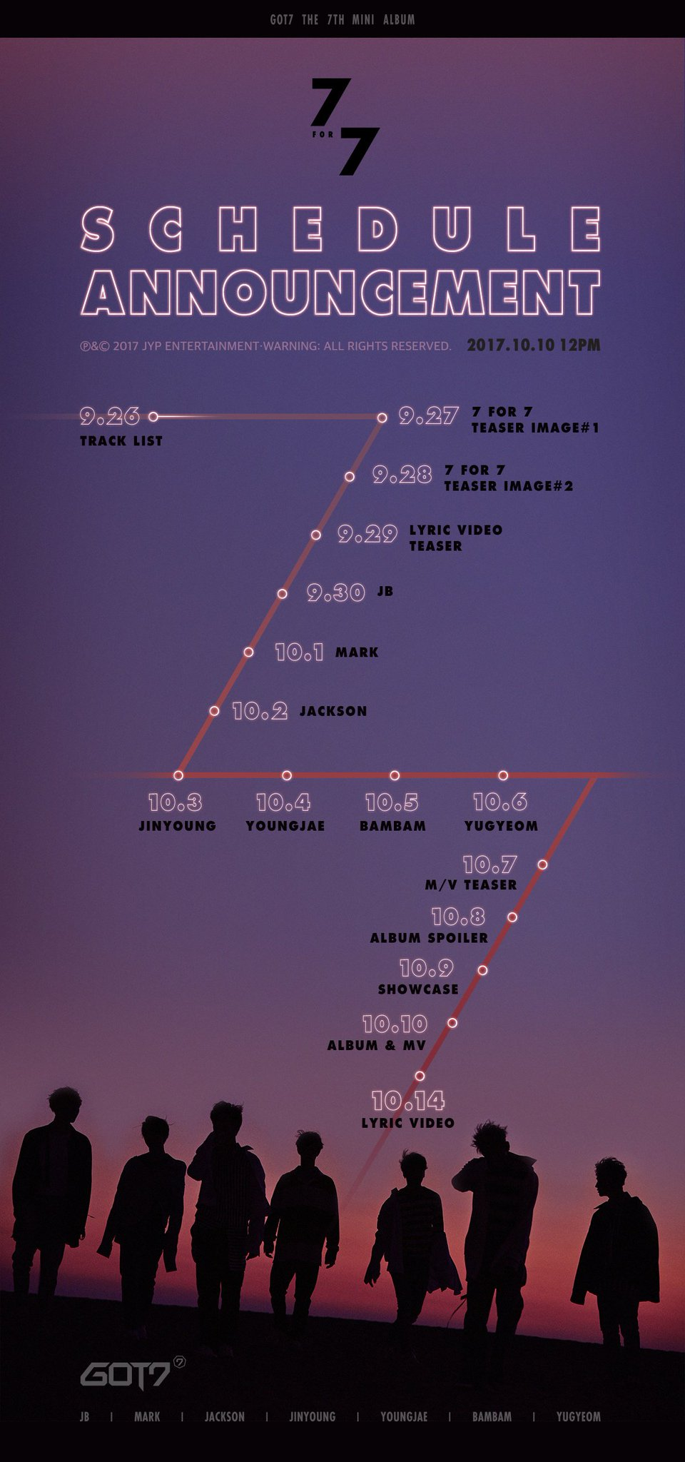 GOT7 <7 for 7> SCHEDULE ANNOUNCEMENT  #GOT7 #갓세븐 #7for7 https://t.co/B9Pu2yGpzZ