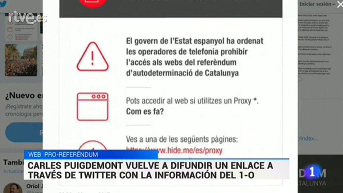 Puigdemont ha vuelto a desafiar al juez y difunde otro enlace con puntos de votación