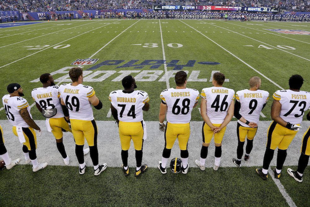 Steelers will not participate in national anthem today, will stay in locker room, per @JamieErdahl https://t.co/5uMakQderM