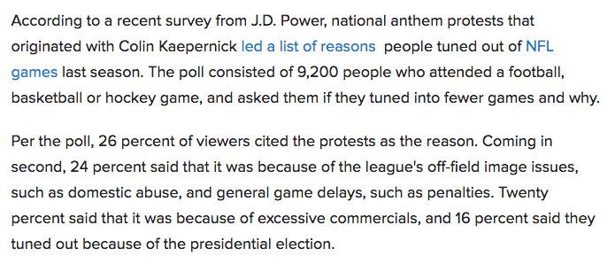 Poll: Anthem protests biggest reason NFL viewers stopped watching. https://t.co/waISFle2d2 https://t.co/xwRabafwDs
