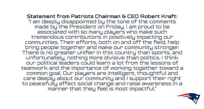 Statement from #Patriots Chairman & CEO Robert Kraft: https://t.co/f5DJeK0Woj