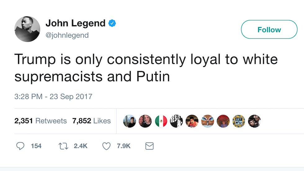 John Legend: Trump is only loyal to white supremacists and Putin https://t.co/FEixR0KnJO https://t.co/AebxGTzh7i