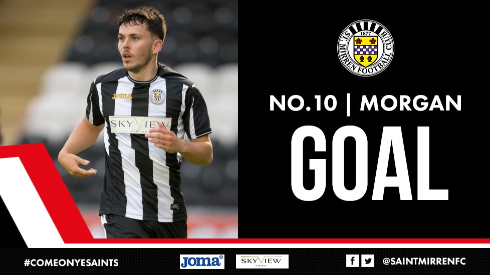 2-0 St Mirren!!!! That's a lovely finish from Lewis Morgan who drills...