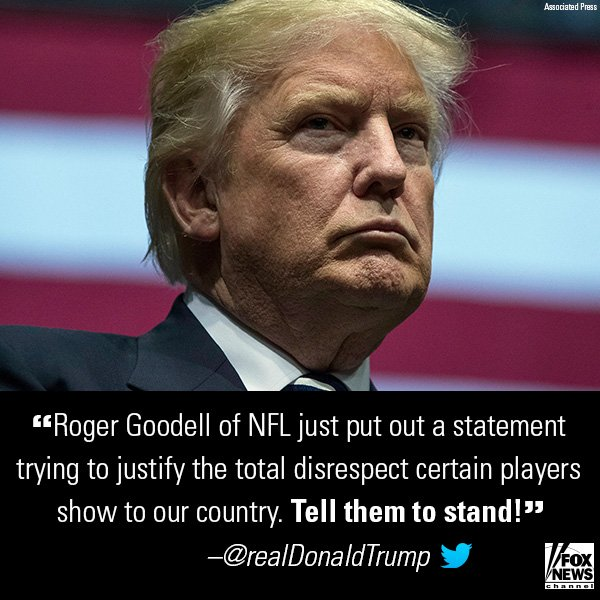 President @realDonaldTrump continues to make known his stance on @NFL players kneeling. https://t.co/rb2zk1YA9v https://t.co/lIHKqEAie9