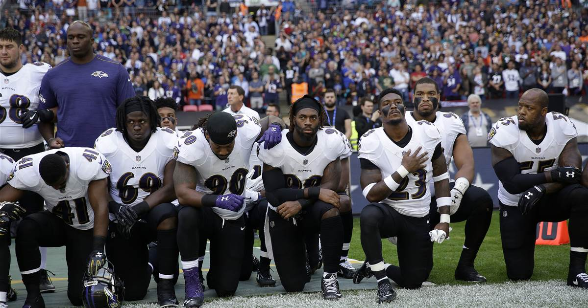 NFL players kneel and link arms during national anthem at Jaguars-Ravens game in London https://t.co/mDs4C6Q2au https://t.co/2lglquY9u0