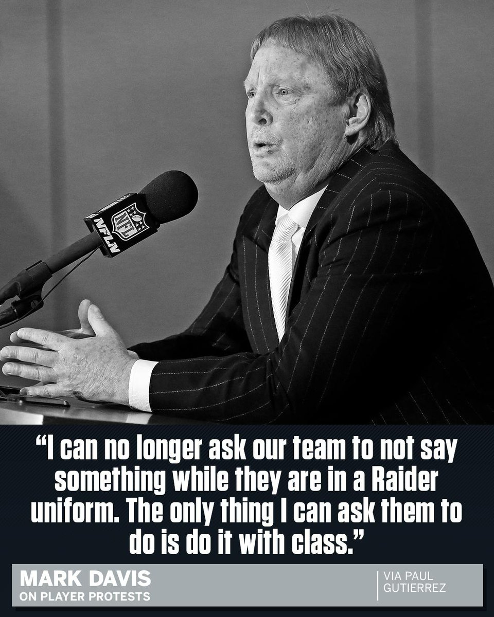Mark Davis once told players he would prefer that they not protest whi...