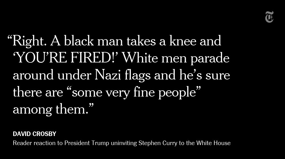 One NYT reader's reaction to President Trump's tweets about Stephen Curry and NFL protests https://t.co/CLlQGVqfQF https://t.co/AWLSNuJ88K