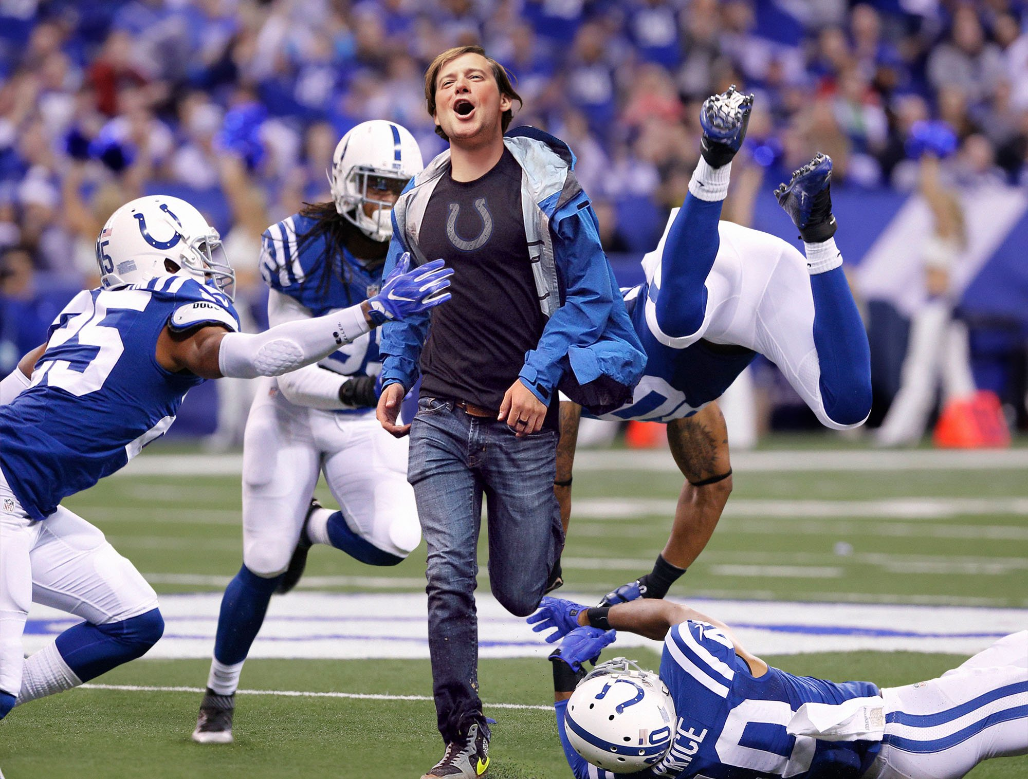 Colts Miss 8 Tackles On Drunken Fan Running Across Field https://t.co/kEV66wEdjX https://t.co/qYeqzEk04a