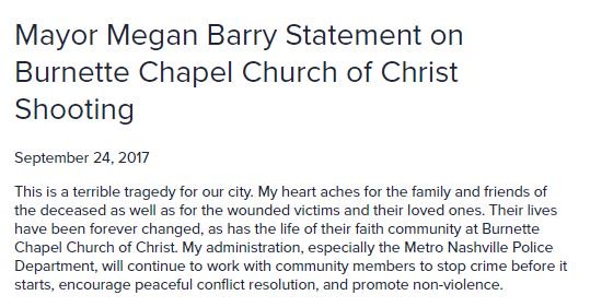 """Nashville mayor calls church shooting a """"terrible tragedy for our city"""""""